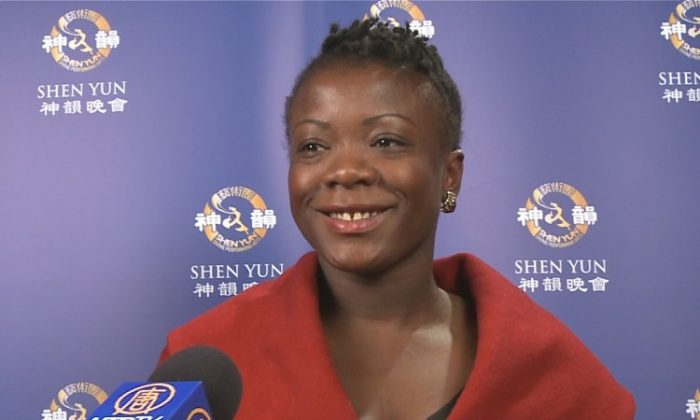 Anoma Langa talks about her Shen Yun experience in London's Coliseum. (Courtesy of NTD Television)