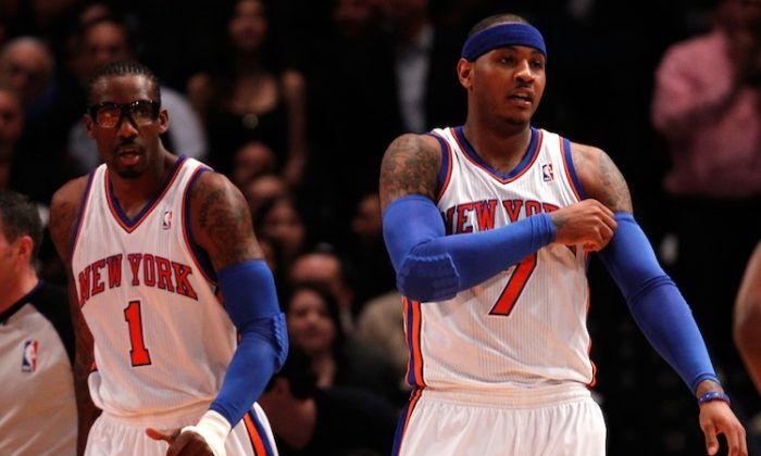 Anthony (R) and Stoudemire worked well together Sunday, scoring a combined 61 of the Knicks 89 points themselves. (Jeff Zelevansky/Getty Images)