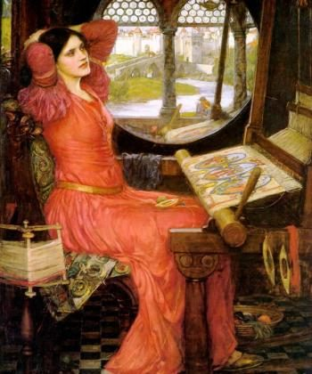 """I am half-sick of shadows,"" said the Lady of Shalott painting by John William Waterhouse, 1915, oil on canvas.  (artrenewal.org)"