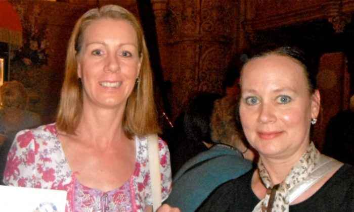 Helen Dorian and her friend attend Shen Yun Performing Arts in Melbourne. (April Tian/The Epoch Times)