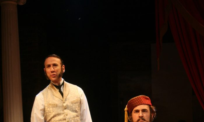 Jay Russell (standing) and Daniel Stewart (sitting) in Irish Repertory's Theatre's production of Around the World in 80 Days.  (Sandy Underwood)