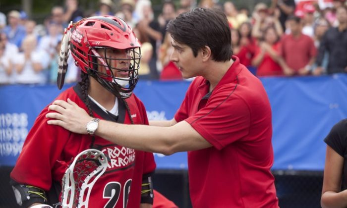 """Tyler Hill and a Brandon Routh (R) in the sports-drama """"Crooked Arrows,"""" a film about a Native American lacrosse team making its way through a prep school league tournament. (Kent Eanes/Peck Entertainment)"""