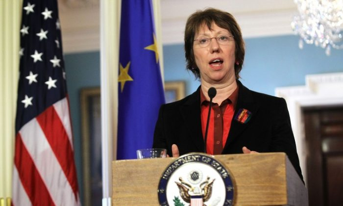 European Union High Representative Catherine Ashton speaks during a joint press conference at the State Department in Washington, DC., on Feb. 17. (Alex Wong/Getty Images)