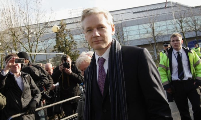 WikiLeaks founder Julian Assange leavs Belmarsh Magistrates Court on February 11, 2011 in London, England. (Dan Kitwood/Getty Images)