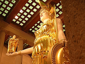 A reconstruction of the chryselephantine statue of Athena Parthenos from the Parthenon, stands on display in the Parthenon replica at Nashville, Tennessee. (Paul Lithgow)