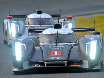 FASTEST: The #1 Audi R18 TDI leads the #3 Audi around the track during the Le Mans Test Day on April 24. (Jean-Francois Monier/AFP/Getty Images)