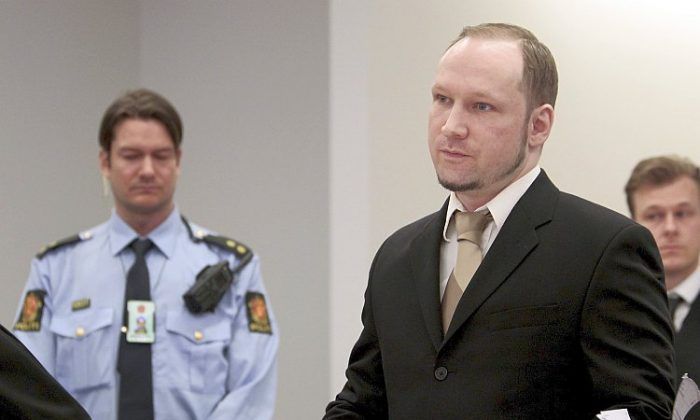 Right-wing extremist Anders Behring Breivik is seen on day two of his mass murder trial in a court in Oslo, Norway on April 17.(Hakon Mosvold Larsen/AFP/Getty Images)