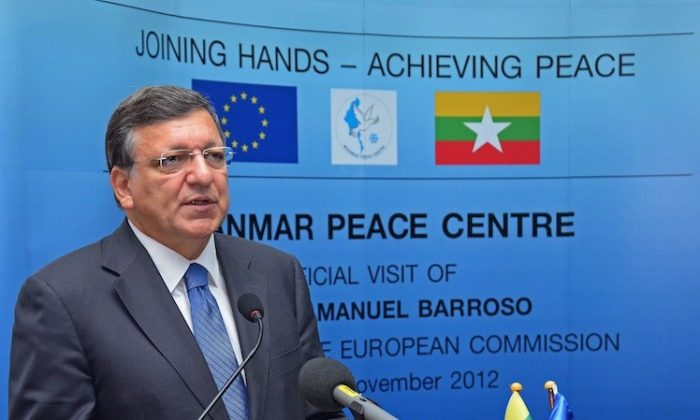 President of the European Commission, Jose Manuel Barroso speaks during the opening of Myanmar Peace Center in Yangon on Nov. 3. (STR/AFP/Getty Images)