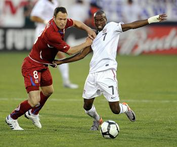 DaMarcus Beasley (R) of the U.S. vies for the ball with Jan Polak (L) of the Czech Republic in a warm-up game for the FIFA World Cup on May 25. (Timothy A. Clary/AFP/Getty Images)