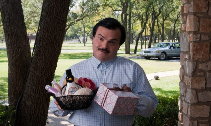 "Jack Black in the comedy-drama ""Bernie,"" a film about a mortician who befriends a wealthy widow and creates the illusion she is alive after killing her. (Deana Newcomb)"