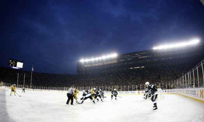 """The """"Big House"""" previously hosted a college hockey game in 2010 in front of 104,173 fans. (Gregory Shamus/Getty Images)"""