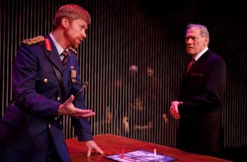 GREEK TRAGEDY: Geoffery Pounsett as Tereus and David Fox as Pandion in a scene from If We Were Birds. (Cylla von Tiedemann)