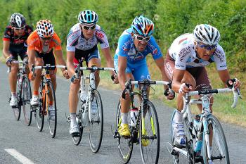 (L-R) AG2R's Dimitri Champion, Bbox's Anthony Charteau, Omega Pharma-Lotto's Sebastian Lang, Euskatel's Ruben Perez and Caisse d'Epargne's Mathieu Perget ride in a breakaway  in the final few dozen kilometers of Stage Six. They were caught with 10 km. to go. (Pascal Pavani/AFP/Getty Images)