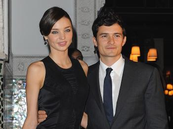 (L-R) Miranda Kerr and Orlando Bloom have a child on the way, their first. (Pascal Le Segretain/Getty Images)