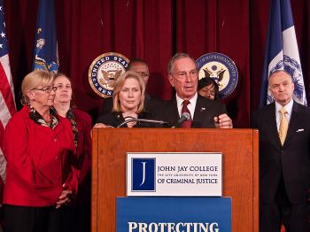 GUN CONTROL: Mayor Michael Bloomberg is joined by Congresswoman Carolyn McCarthy, Senator Kirsten Gillibrand, and Police Commissioner Raymond Kelly for a Nov. 24 press conference on illegal gun trafficking. (Joshua Philipp/The Epoch Times)
