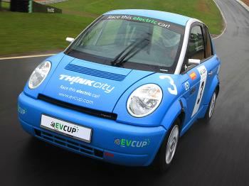 The Think City racer in action at England's famous Brands Hatch circuit. (Courtesy EV Cup)