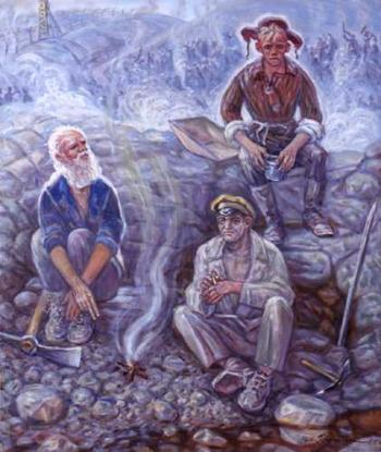 SPIRITUAL SUPPORT: In his painting, The Preacher, Nikolai Getman shows an Orthodox Christian encouraging two prisoners who, with him, were sent to a Siberian death camp to work and die. (courtesy of jamestown.org)