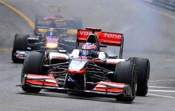 Smoke comes out from Jenson Button's McLaren Mercedes soon after the start of the the Monaco Grand Prix. (Gerard Julien/AFP/Getty Images)