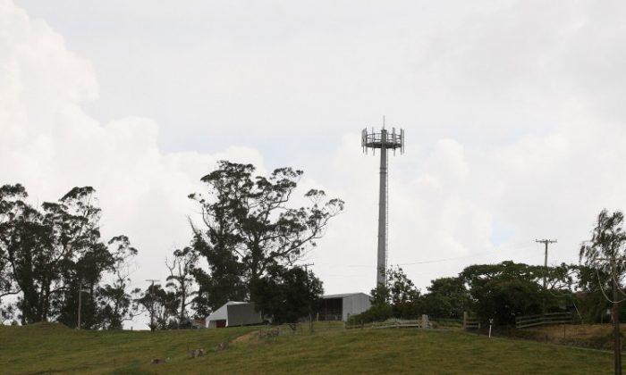 HAMILTON: An ultra fast broadband tower on a rural farm in Eureka that was built under the rural broadband initiative. (Sandra Mu/Getty Images)
