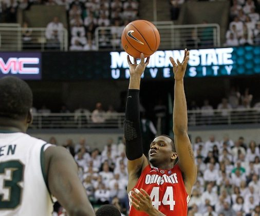 William Buford (44) of Ohio State drilled the game-winning jumper with one second remaining. (Leon Halip/Getty Images)