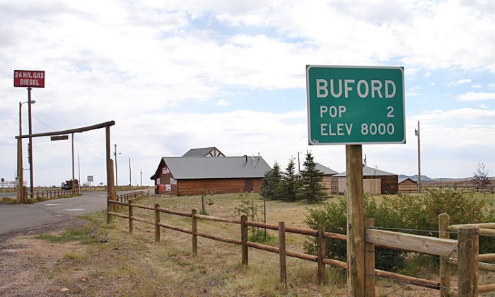 Buford, Wyoming street sign pictured in 2006. Buford was reportedly bought Thursday by a businessman from Vietnam for $900,000 in an auction. (Flikr user 'frankenstoen'/Creative Commons)