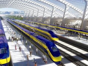 Passengers wait to board high-speed bullet trains.  (Computer rendition courtesy of NC3D)