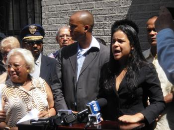 Aneiry Batista, a district leader for Northern Manhattan, believes Washington Heights is frequently under attack and came to support Councilman Rodriguez.  (Annie Wu/The Epoch Times)