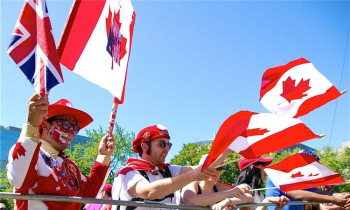 Revelers celebrate Canada Day in Toronto on July 1, 2011. (Allen Zhou/The Epoch Times)