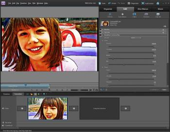 DRAWN IN: An effect in Adobe Premier Elements 9 lets users apply a cartoonish look to their videos. (Courtesy of Adobe)