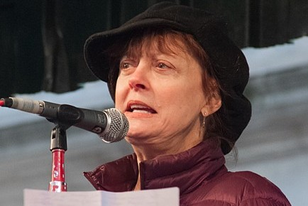Susan Sarandon speaking at the Occupy Wall Street protest in Union Square Park on Feb. 28 in Manhattan. (Benjamin Chasten/The Epoch Times)