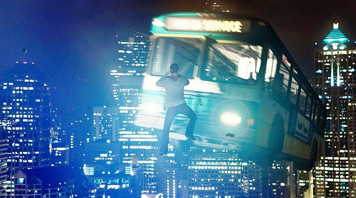 """Alex Russell in """"Chronicle,"""" has a close encounter with an airborne bus and uses his telekinetic abilities during a fierce battle above Seattle. (CGFactory—TM and Twentieth Century Fox Film Corporation)"""