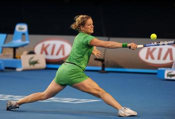 Kim Clijsters was stretched to her limits by Li Na, but managed to change her game and win the match. (Nicolas Asfouri/AFP/Getty Images)