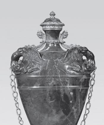 Florentine Flask of lapis lazuli with gold and gilt-copper mount from 1583. (Museo degli Argenti, Florence)