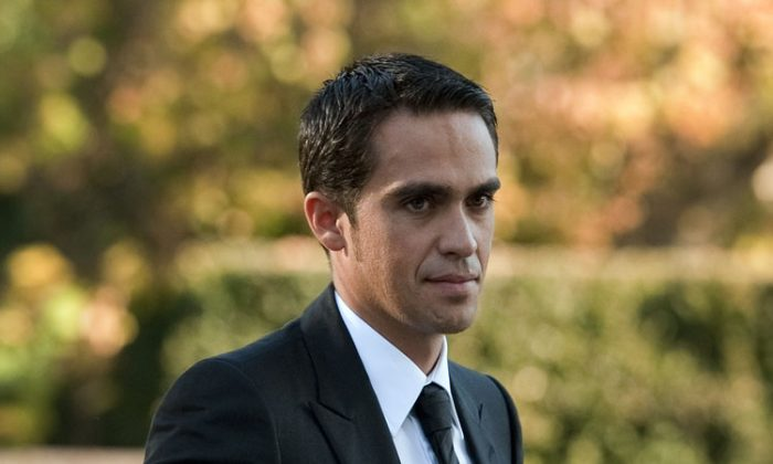 Alberto Contador arrives for his hearing before the CAS. (Fabrice Coffrini/AFP/Getty Images)