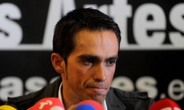Alberto Contador speaks during a press conference the day after the CAS handed him a two-year ban. (Denis Doyle/Getty Images)