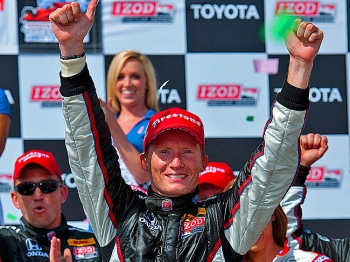 FIRST WIN: Mike Conway celebrates after winning the IndyCar Series Toyota Grand Prix of Long Beach. (Robert Laberge/Getty Images)