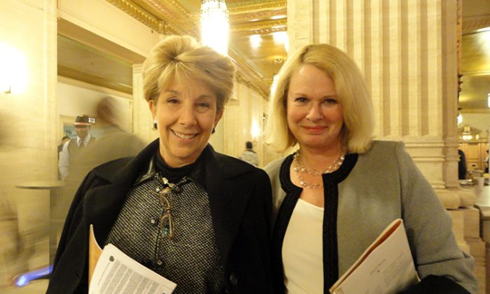 Former Illinois Lieutenant Governor, Corinne Wood (L), with her friend Corrine Taylor, at Shen Yun Performing Arts in Chicago. (The Epoch Times)