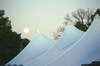 The moon rises over the Courthouse Tent at the National Storyytelling Festival. The event has happened in the first weekend in October for 37 years. (The Epoch Times)