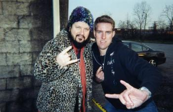 Dimebag Darrell with Kevin McMeans just hours before the fatal shooting at the Alrosa Villa in Columbus, Ohio on December 8, 2004. (Courtesy of Kevin McMeans)