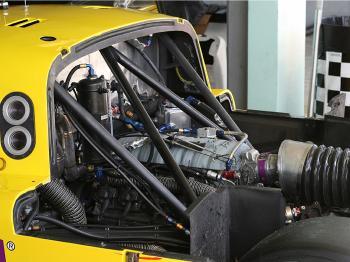 The five-liter Pontiac V8 of the Beyer Racing Daytona Prototype (James Fish/The Epoch Times)