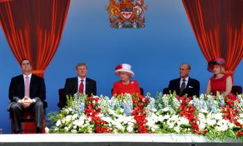 Minister of Canadian Heritage James Moore, Prime Minister Stephen Harper, HRH Queen Elizabeth, Prince Phillip, and Laureen Harper watch the Canada Day 2010 entertainment (Pam McLennan/Epoch Times)