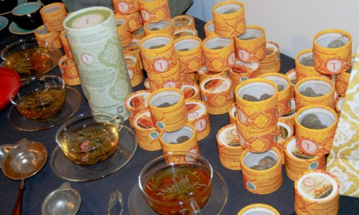 One of the many specialty brands of tea, T Salon, on display at the Seventh Annual Coffee & Tea Festival on Saturday. (Catherine Yang/The Epoch Times)