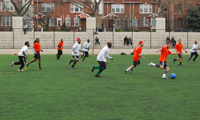 Soccer for Harmony held a rematch between Mendy's Deli and the Caribbean team from the Brooklyn Central Soccer League on Sunday at the Hamilton Metz Field. (Catherine Yang/The Epoch Times)