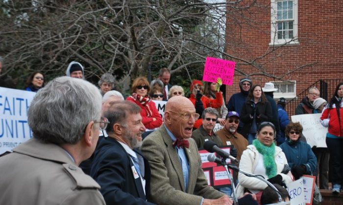 Reverend Dr. Jay Herbert Nelson expresses his outrage at recent gun murders of young people in the Maryland community where he lives at a rally in front of the Maryland State House in Annapolis, M.D, on March 1, 2013. (Ron Dory/The Epoch Times)