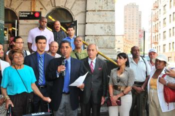 Assemblyman Adriano Espaillat talks about planned subway station renovations at the Dyckman Street station in Inwood, Manhattan on Thursday. (Angel Audiffred )
