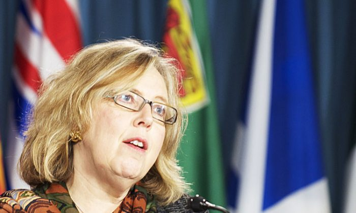 Canadian Green Party leader Elizabeth May told reporters Thursday that the Canada-China foreign investment protection deal announced in China will undermine Canadian sovereignty. (Matthew Little/The Epoch Times)