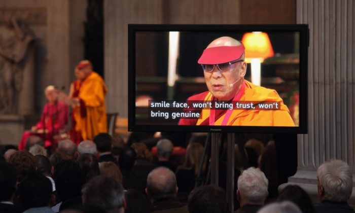 Dalai Lama at St Paul's Cathedral on May 14, 2012 in London. (Photo by Oli Scarff/Getty Images)