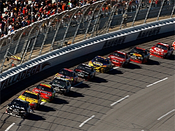 The field spent most of the race single file, afraid to race for fear of being penalized, or being wrecked. The two late-race wrecks claimed 18 cars regardless of all precautions. (Chris Graythen/Getty Images)