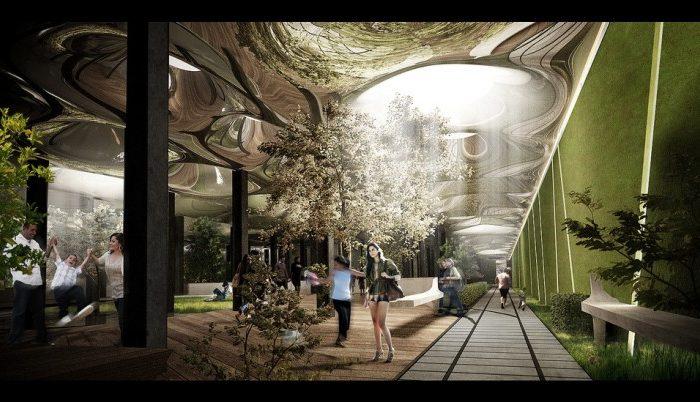 An illustration of how the skylights would work for the proposed Delancey Underground project, or the LowLine. (Courtesy of Delancey Underground)
