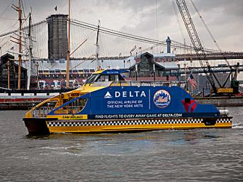 TAKE ME OUT TO THE BALL GAME: New York Water Taxi and Delta Airlines are offering free ferry rides to Yankees and Mets games this summer. (COURTESY OF NEW YORK WATER TAXI)